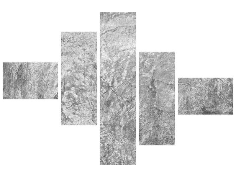 Leinwandbild 5-teilig modern Wischtechnik in Grau