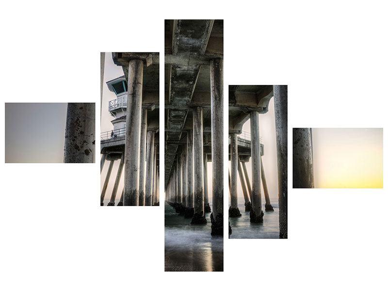 Leinwandbild 5-teilig modern Brückenpfeiler