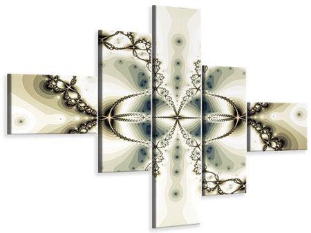 Leinwandbild 5-teilig modern Abstrakter Schmetterling