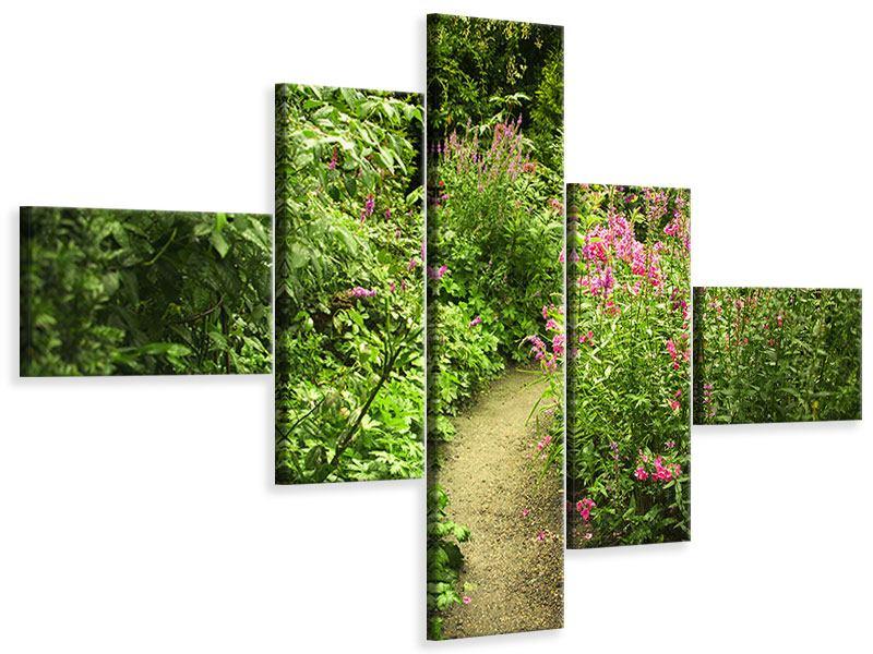 Leinwandbild 5-teilig modern Gartenweg