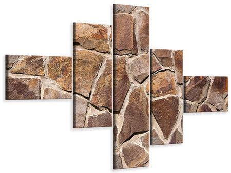 Leinwandbild 5-teilig modern Designmauer