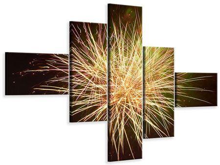 Leinwandbild 5-teilig modern Feuerwerk XXL
