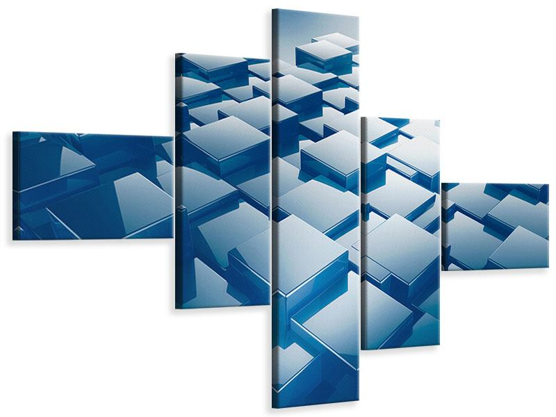 Leinwandbild 5-teilig modern 3D-Cubes