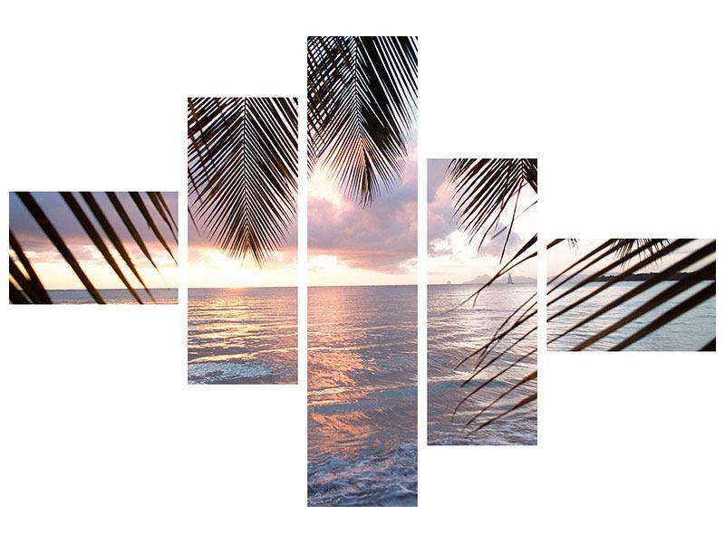 Leinwandbild 5-teilig modern Unter Palmenblätter