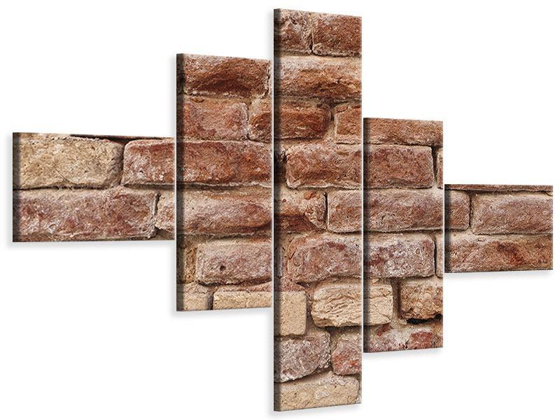Leinwandbild 5-teilig modern Loft-Mauer