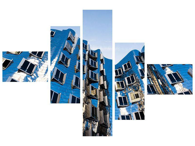 Leinwandbild 5-teilig modern Neuer Zollhof