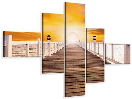 Leinwandbild 5-teilig modern Die Brücke Ins Glück