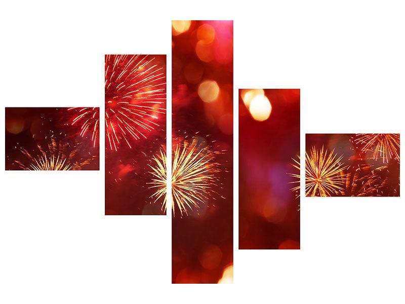 Leinwandbild 5-teilig modern Buntes Feuerwerk