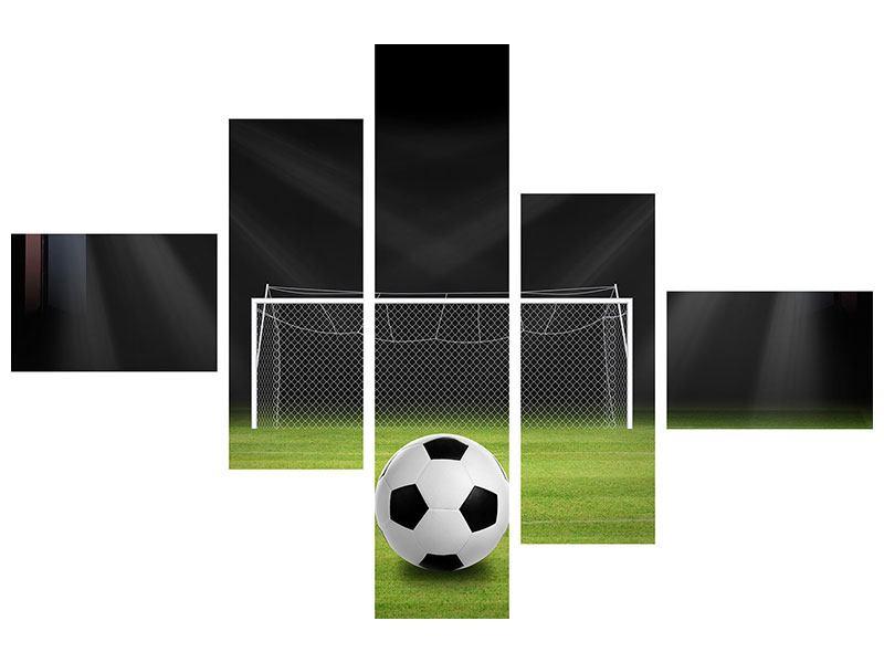 Leinwandbild 5-teilig modern Fussball-Tor