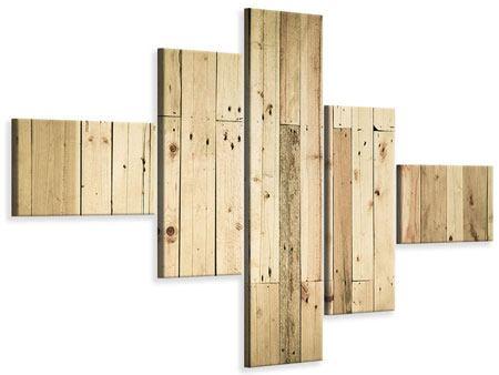 Leinwandbild 5-teilig modern Holzpaneelen