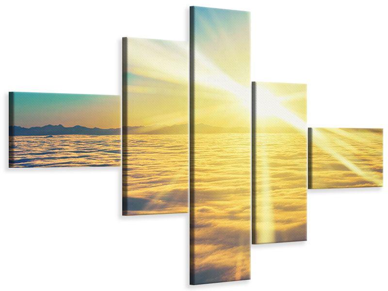 Leinwandbild 5-teilig modern Sonnenuntergang über den Wolken