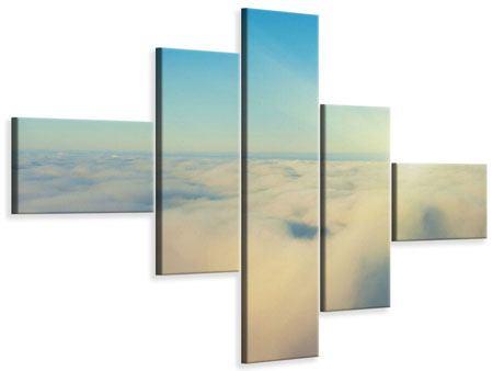 Leinwandbild 5-teilig modern Dämmerung über den Wolken