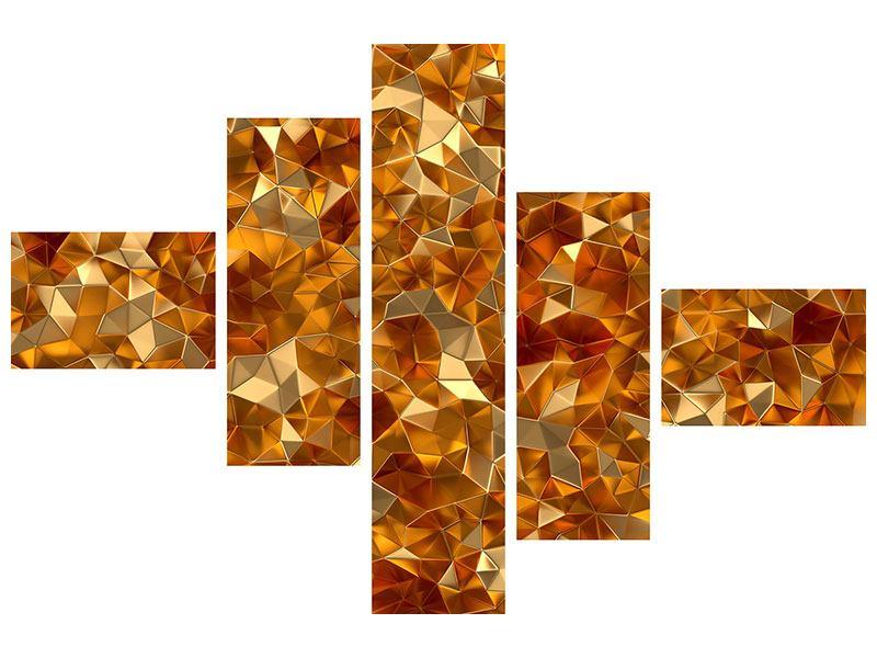 Leinwandbild 5-teilig modern 3D-Bernsteine