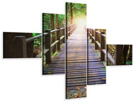 Leinwandbild 5-teilig modern Die Brücke im Wald