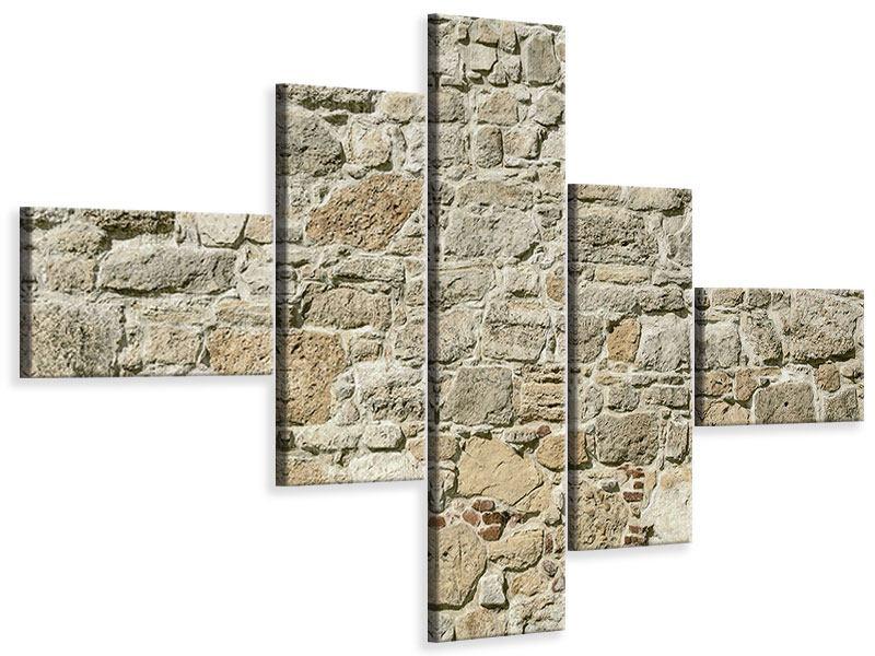 Leinwandbild 5-teilig modern Naturmauer