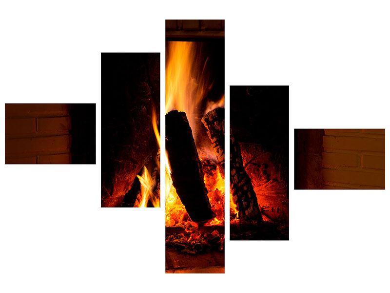 Leinwandbild 5-teilig modern Feuer im Kamin