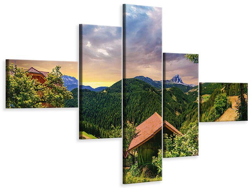 Leinwandbild 5-teilig modern Schweizer Berge im Sommer