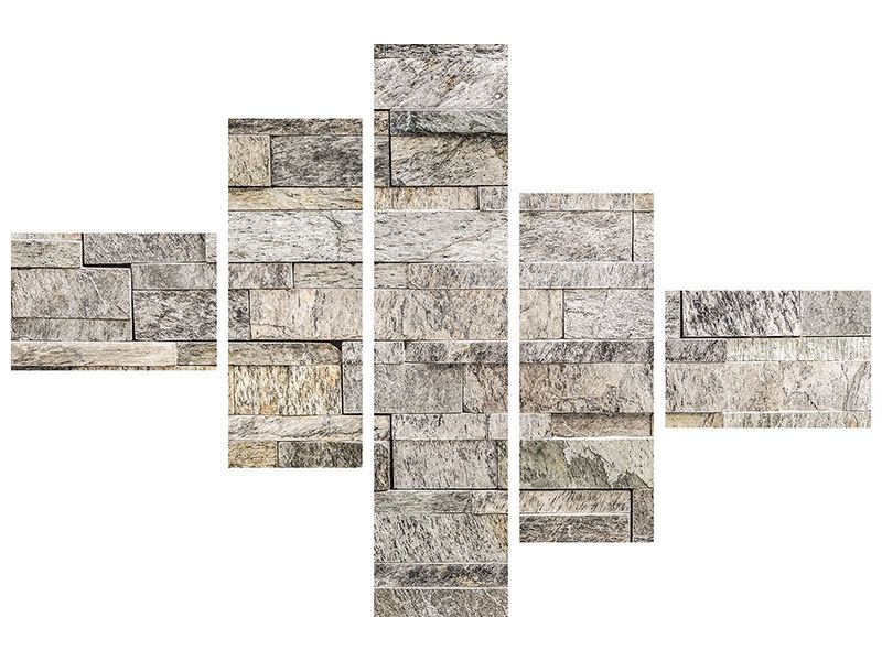 Leinwandbild 5-teilig modern Elegante Steinmauer