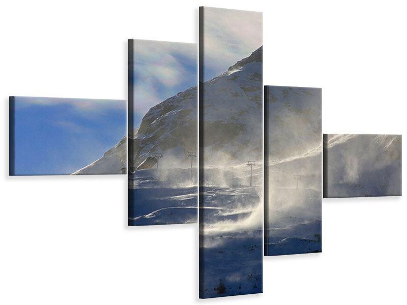 Leinwandbild 5-teilig modern Mit Schneeverwehungen den Berg in Szene gesetzt