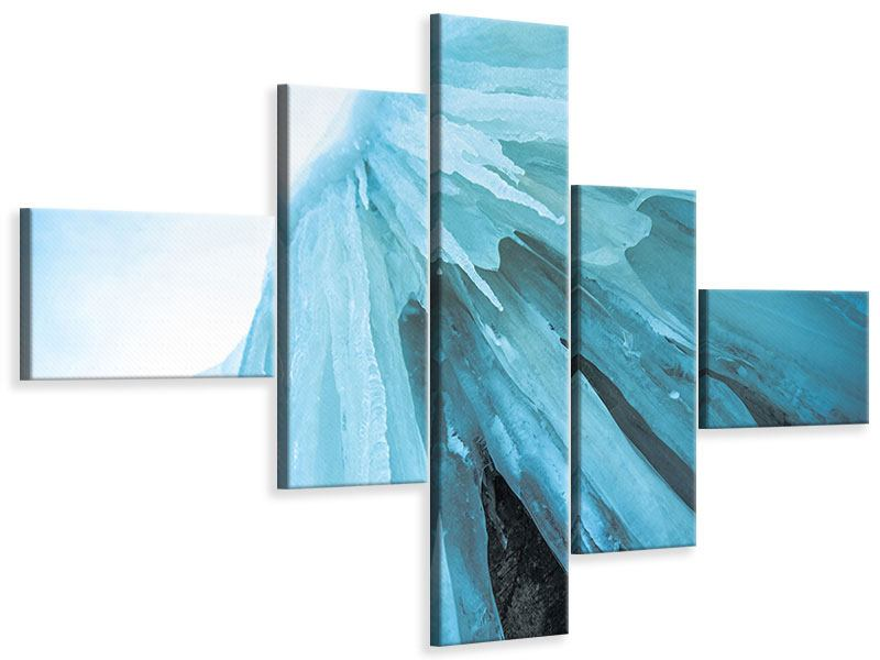 Leinwandbild 5-teilig modern Die Eiswand