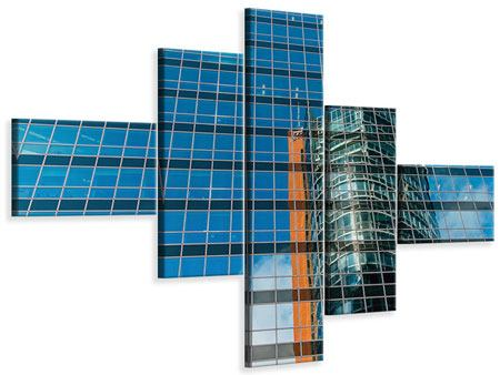 Leinwandbild 5-teilig modern Wolkenkratzer-Spiegel