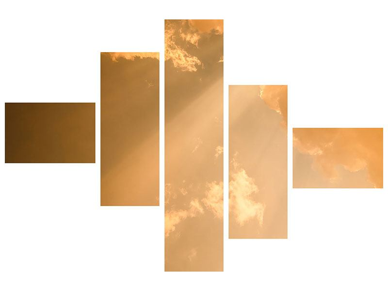 Leinwandbild 5-teilig modern Abendhimmel