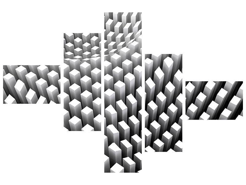 Leinwandbild 5-teilig modern 3D-Rasterdesign