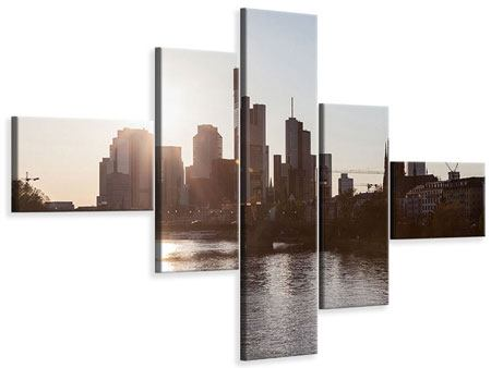 Leinwandbild 5-teilig modern Skyline Sonnenaufgang bei Frankfurt am Main