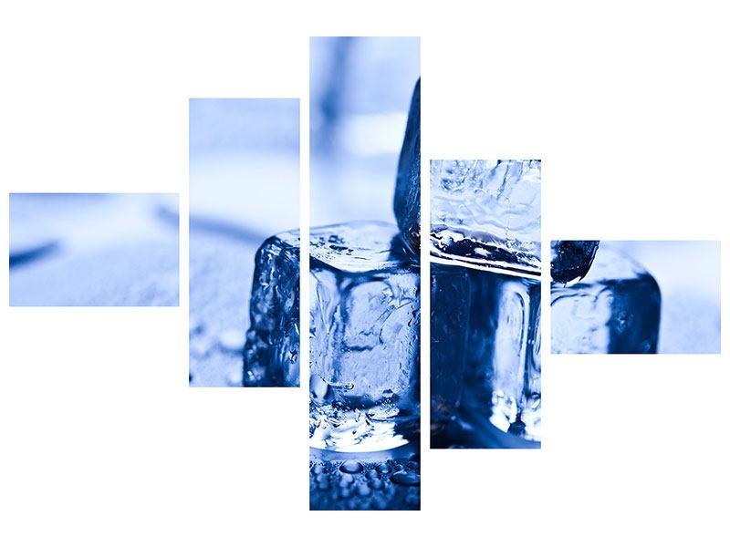 Leinwandbild 5-teilig modern Eiswürfel