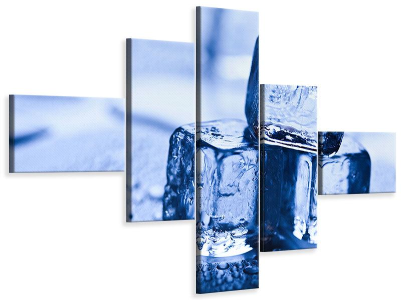 Modern 5 Piece Canvas Print Ice Cubes
