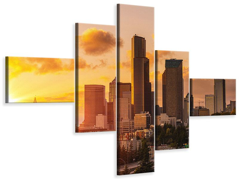 Leinwandbild 5-teilig modern Skyline Washington