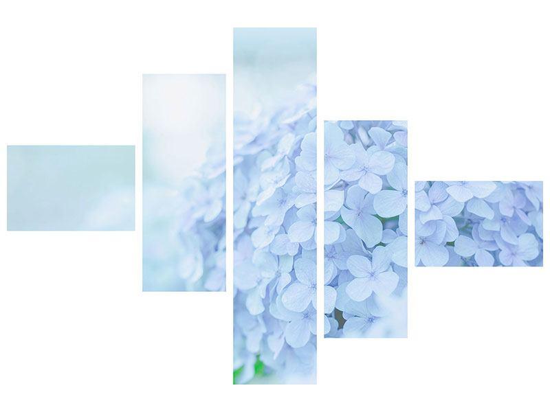 Leinwandbild 5-teilig modern Die Hortensie