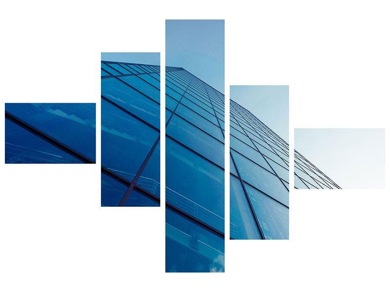 Leinwandbild 5-teilig modern Wolkenkratzer-Highlight