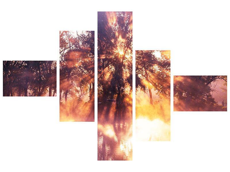 Leinwandbild 5-teilig modern Die Waldspiegelung
