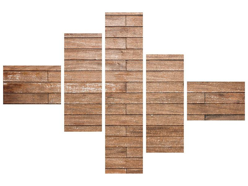 Leinwandbild 5-teilig modern Walnuss-Paneele