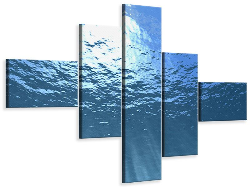 Leinwandbild 5-teilig modern Sonnenstrahlen unter Wasser