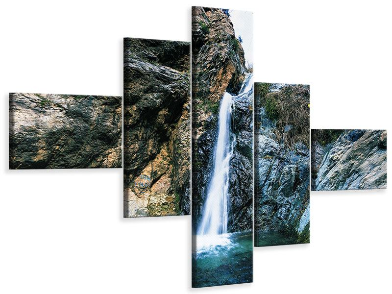 Modern 5 Piece Canvas Print Moving Water