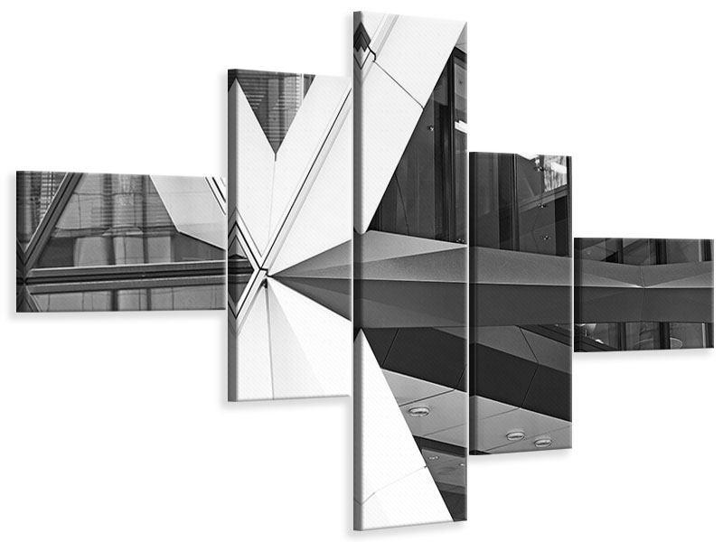 Leinwandbild 5-teilig modern Teil eines Wolkenkratzers