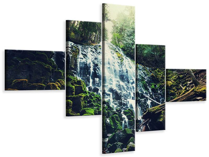 Leinwandbild 5-teilig modern Feng Shui & Wasserfall