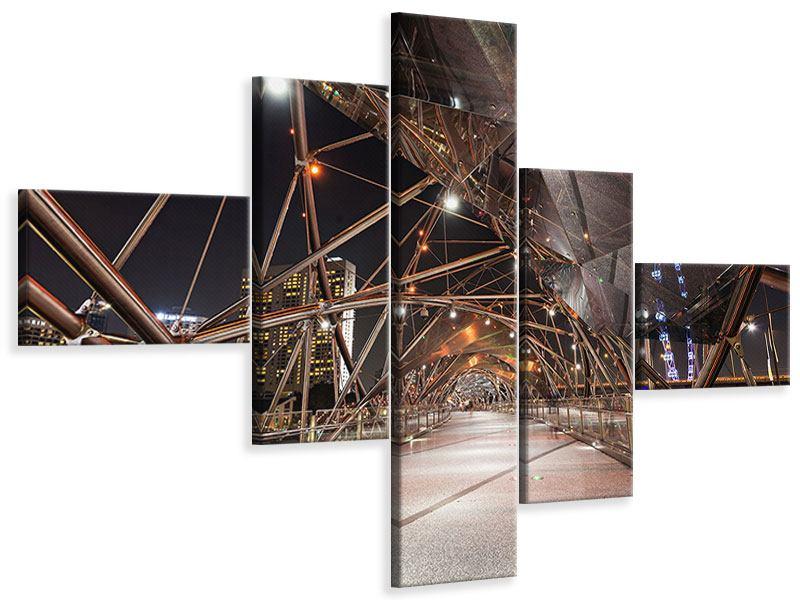Leinwandbild 5-teilig modern Brückenlichter