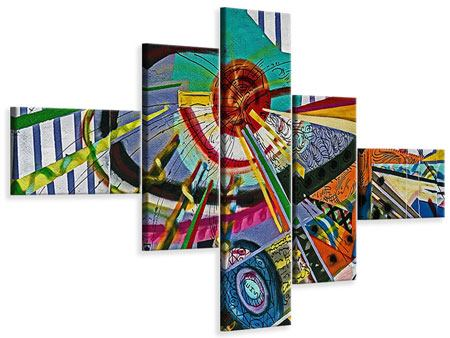 Leinwandbild 5-teilig modern Künstlerisches Graffiti