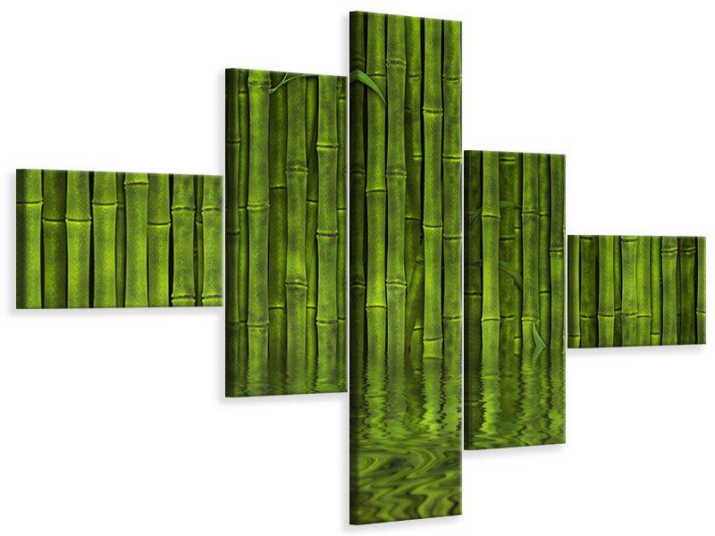 Leinwandbild 5-teilig modern Wasserspiegelung Bambus