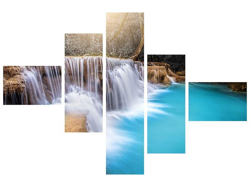 Leinwandbild 5-teilig modern Glücklicher Wasserfall