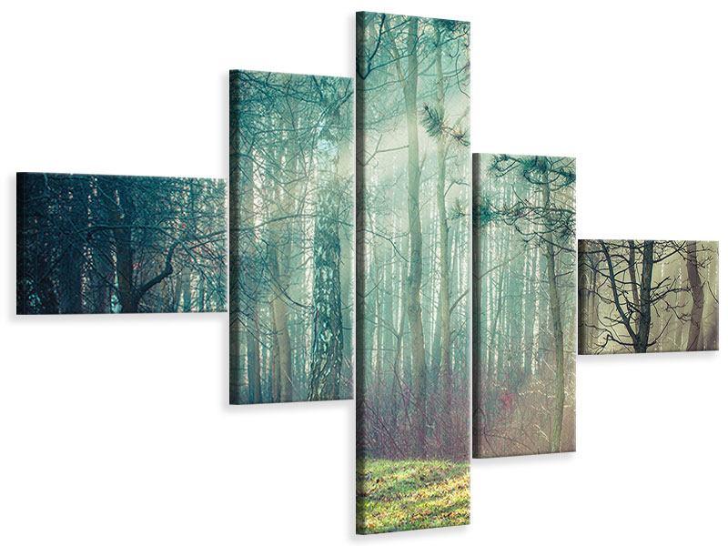 Leinwandbild 5-teilig modern Pinienwald