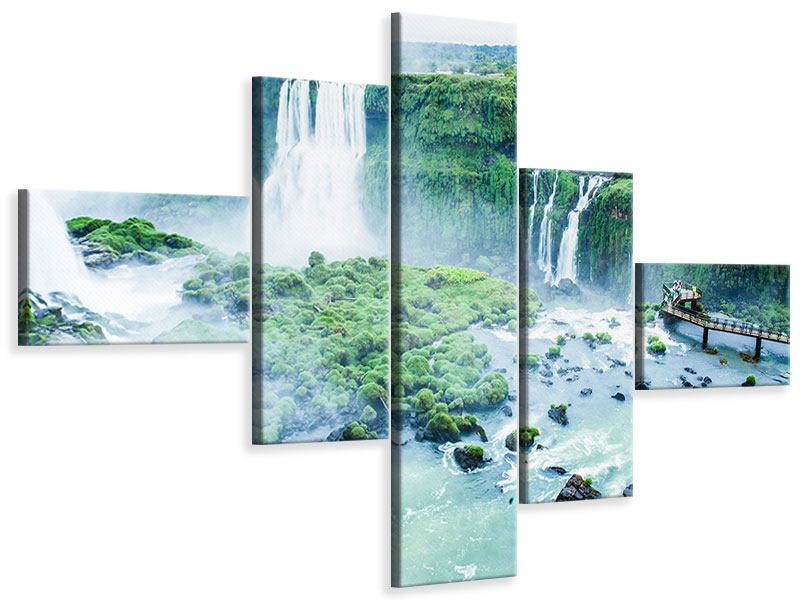 Leinwandbild 5-teilig modern Wasserfälle
