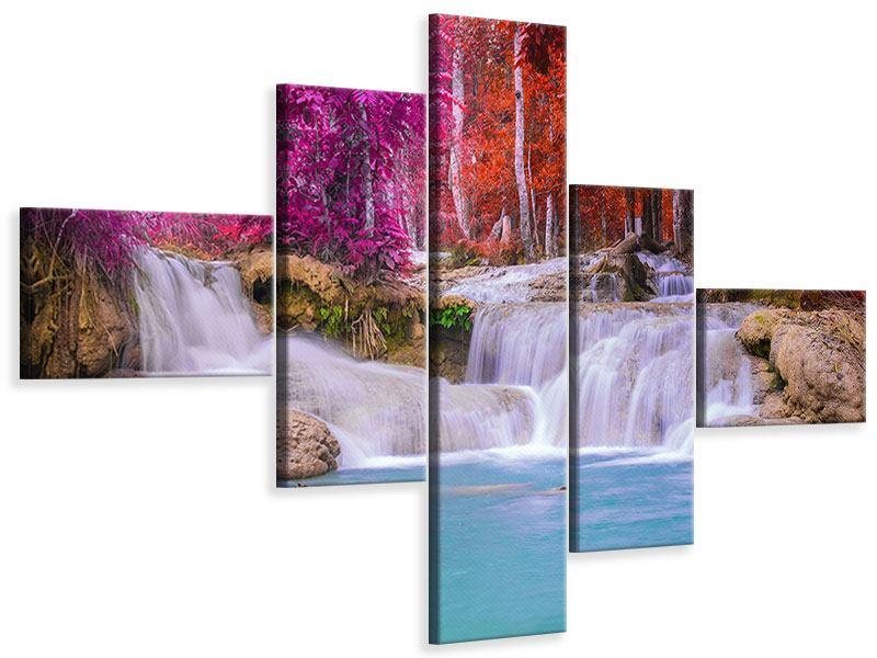 Leinwandbild 5-teilig modern Paradiesischer Wasserfall