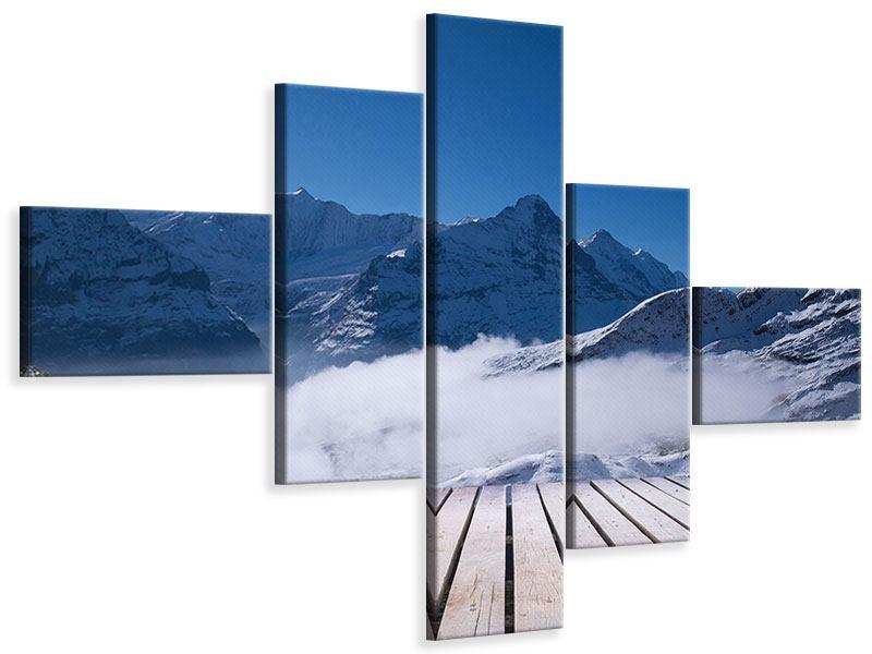Leinwandbild 5-teilig modern Sonnenterrasse in den Schweizer Alpen