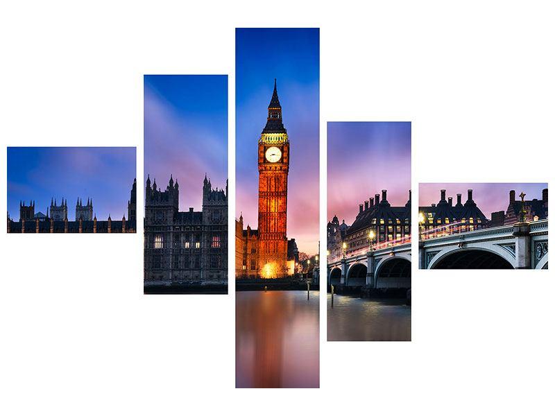 Leinwandbild 5-teilig modern Nachts am Big Ben