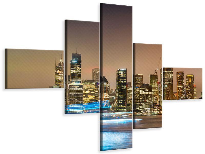 Leinwandbild 5-teilig modern Skyline Sydney im Lichtermeer