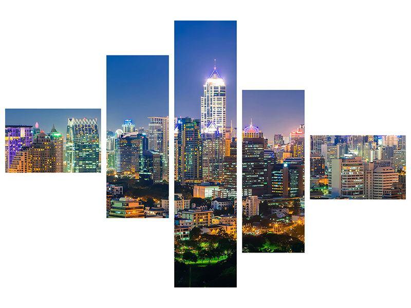 Leinwandbild 5-teilig modern Skyline One Night in Bangkok